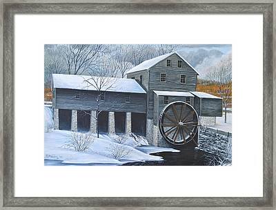 Grist Mill In Winter Framed Print by Dave Hasler