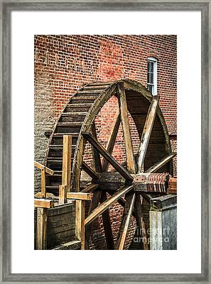 Grist Mill Water Wheel In Hobart Indiana Framed Print by Paul Velgos