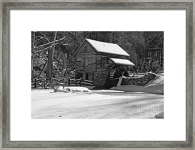 Grist Mill Winter In Black And White Framed Print by Paul Ward
