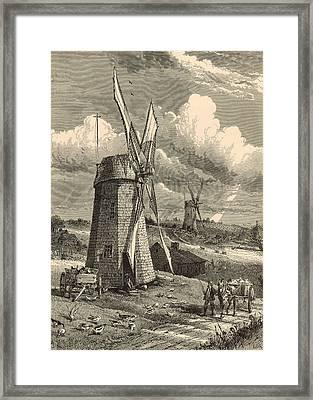 Grist Windmills At East Hampton 1872 Engraving By John Karst Framed Print