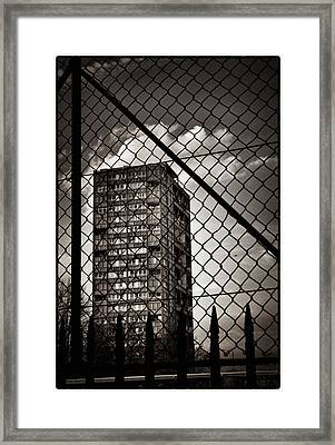 Gritty London Tower Block And Fence - East End London Framed Print