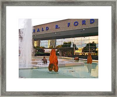 Grizzlies On The Ford At Gerald R Ford Museum In Grand Rapids-michigan Framed Print by Ruth Hager