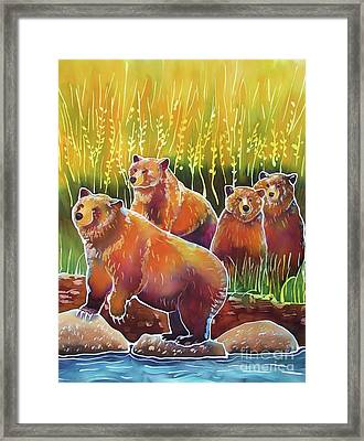 Grizzlies On Wapiti Creek Framed Print by Harriet Peck Taylor