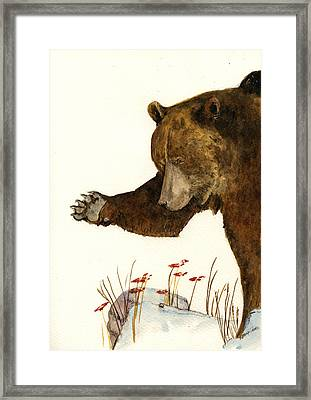 Grizzly Bear First Part Framed Print by Juan  Bosco