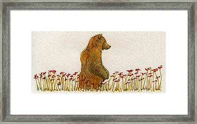 Grizzly Brown Bear Flowers Framed Print