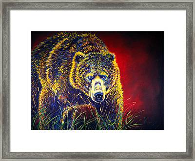 Grizzly Gaze Framed Print by Teshia Art