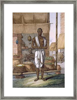 Grocer Outside His Shop With Wares Framed Print
