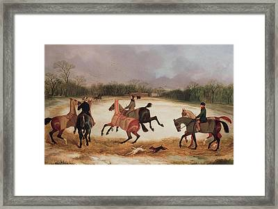 Grooms Exercising Racehorses  Framed Print by David of York Dalby