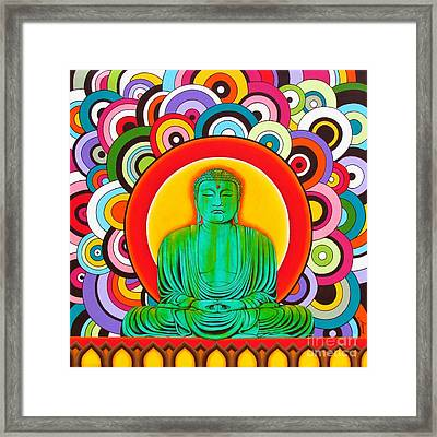 Framed Print featuring the painting Groovy Buddha by Joseph Sonday