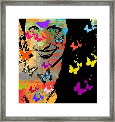 Groovy Butterfly Gal Framed Print