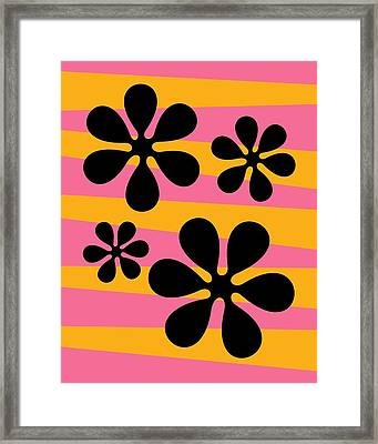 Framed Print featuring the digital art Groovy Flowers I by Donna Mibus
