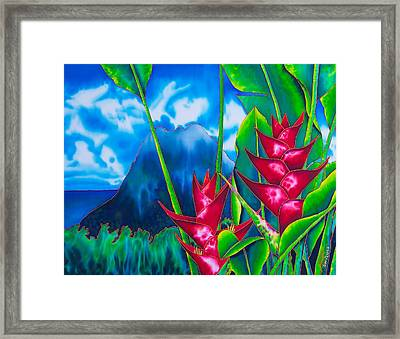 Gros Piton And Heliconia Framed Print by Daniel Jean-Baptiste
