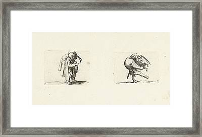 Grotesque Figure With Hurdy-gurdy Dwarf With Grill And Sword Framed Print