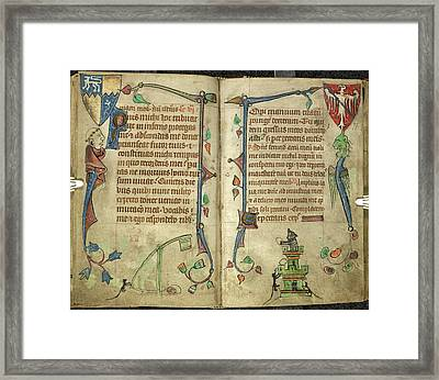 Grotesquesfrom Book Of Hours Framed Print by British Library