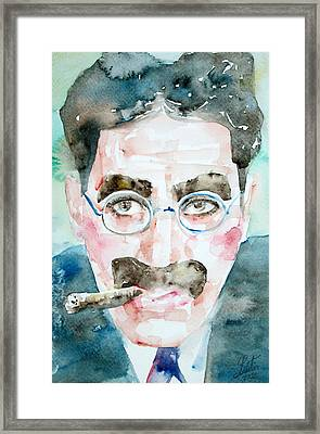 Groucho Marx Watercolor Portrait.1 Framed Print by Fabrizio Cassetta