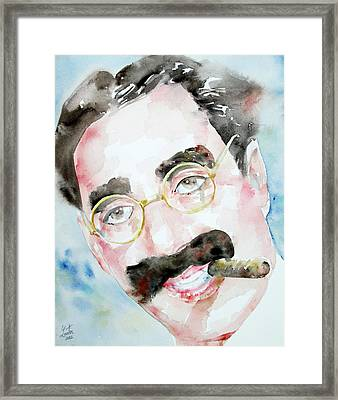 Groucho Marx Watercolor Portrait.2 Framed Print by Fabrizio Cassetta