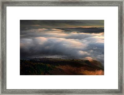 Framed Print featuring the photograph Ground Clouds by Graham Hawcroft pixsellpix