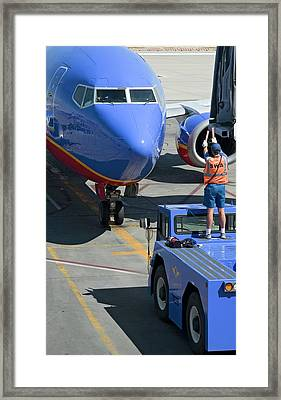 Ground Crew Directing Jet Airliner Framed Print