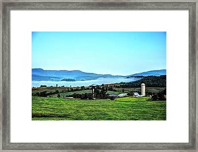 Groundfog Silos Framed Print by John Nielsen