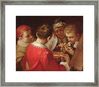 Group Of Artists Oil On Canvas Framed Print by Annibale Carracci