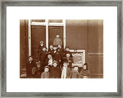 Group Of Children Posing On Stairs For Entrance Doors Framed Print by Artokoloro