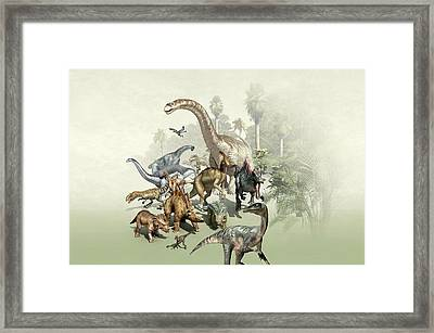 Group Of Dinosaurs Framed Print by Mikkel Juul Jensen