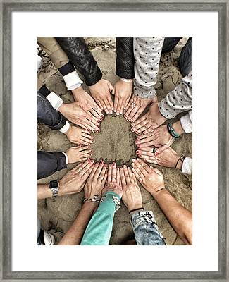 Group Of Friends Making Heart Shape Framed Print by Julen Garces Carro / Eyeem