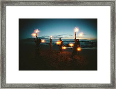 Group Of Friends With Fireworks Framed Print by Wundervisuals