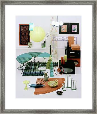 Group Of Furniture And Decorations In 1960 Colors Framed Print by Tom Yee