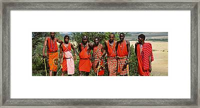 Group Of Maasai People Standing Side Framed Print by Panoramic Images