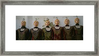Group Of Mannequins In A Market Stall Framed Print