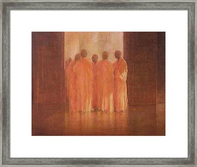 Group Of Monks, Vietnam Framed Print by Lincoln Seligman