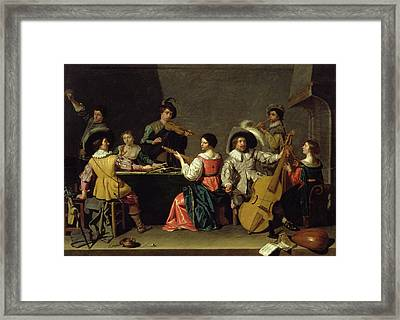 Group Of Musicians Framed Print by Jan van Bijlert or Bylert