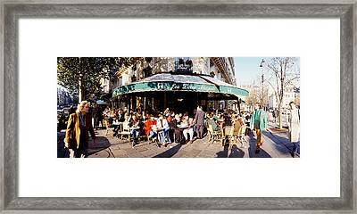 Group Of People At A Sidewalk Cafe, Les Framed Print by Panoramic Images