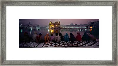 Group Of People At A Temple, Golden Framed Print by Panoramic Images
