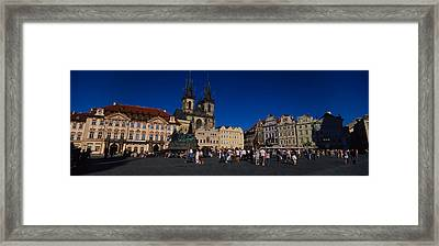 Group Of People At A Town Square Framed Print by Panoramic Images