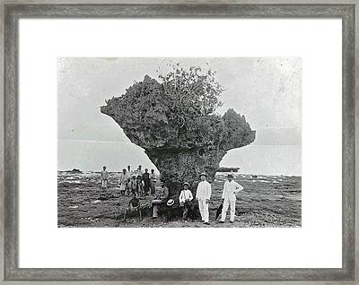 Group Of People At Rock Formation Stone Hat Batu Tjepeh Framed Print