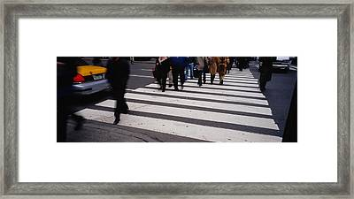 Group Of People Crossing At A Zebra Framed Print