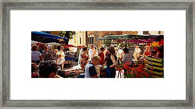Group Of People In A Street Market Framed Print