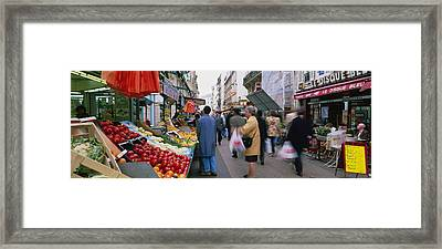 Group Of People In A Street Market, Rue Framed Print by Panoramic Images