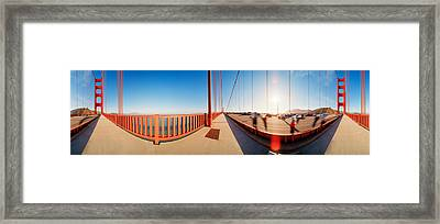 Group Of People On A Suspension Bridge Framed Print by Panoramic Images