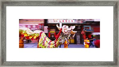 Group Of People Performing Dragon Framed Print