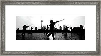 Group Of People Practicing Tai Chi Framed Print by Panoramic Images
