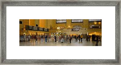 Group Of People Walking In A Station Framed Print by Panoramic Images