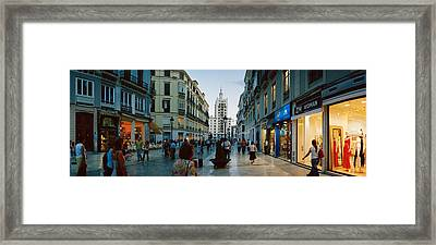 Group Of People Walking On A Street Framed Print by Panoramic Images