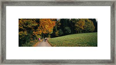 Group Of People Walking On A Walkway Framed Print by Panoramic Images