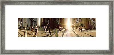 Group Of People Walking On The Street Framed Print by Panoramic Images
