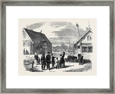Group Of Russian Serfs And Village Of Goumnist Framed Print by English School