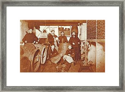 Group Portrait Of A Brewer And Servants Between Barrels Framed Print by Artokoloro