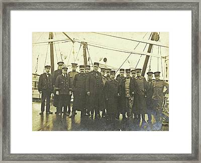 Group Portrait Of Crew On Deck Of A Ship Framed Print by Artokoloro